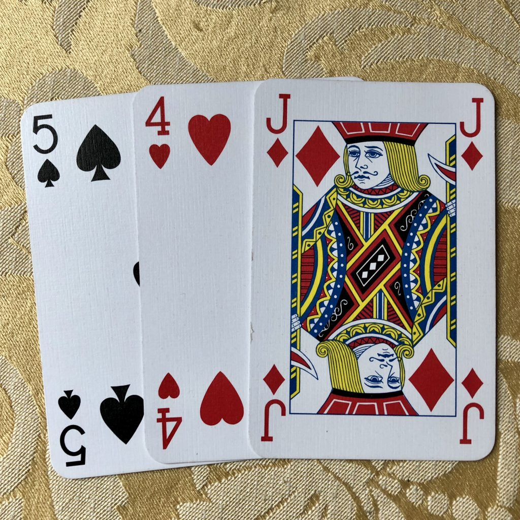 cartomancy 5 spades 4 hearts J diamonds